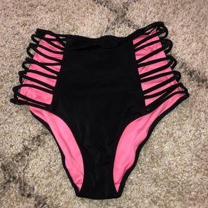 VS PINK Black High Waisted Bikini Bottoms